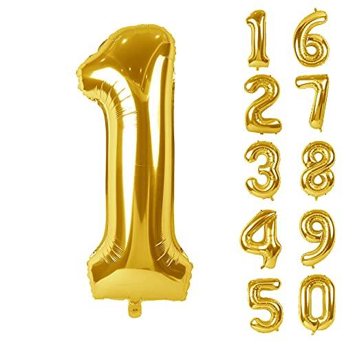 Ballons en forme de chiffre 101,6 cm - Dorés - Chiffres en Mylar 1 Numero Ballon Age Gonflable Anniversaire, Ballons Numéro Anniversaire Chiffres pour Décoration de fête, anniversaire de mariage