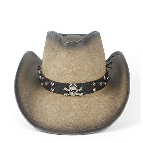 RedAlphabet Chapeau de Cowboy Occidental en Cuir for Femme avec Bande de Cuir Taille: 58-59cm (Color : Tan, Size : 58-59)