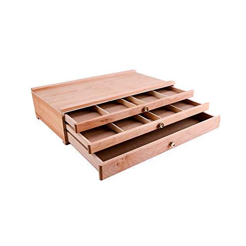 RanRotoy Caja de almacenamiento de madera Portátil para Escritorio,caja de almacenamiento,caballete con 3 cajones,caja de herramientas para dibujar a Lápiz,organizador de artistas para Pinturas