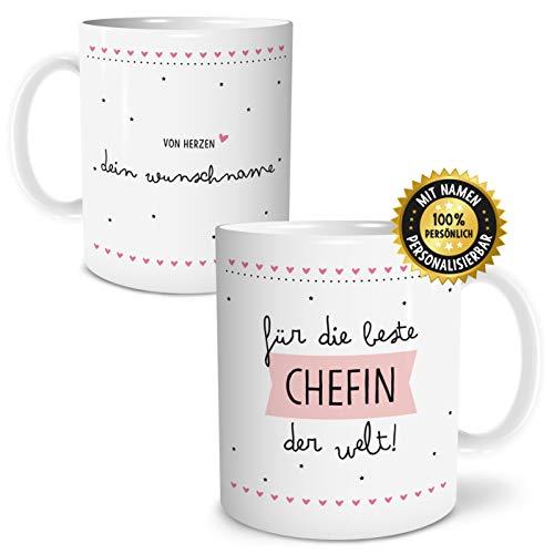 OWLBOOK Beste Chefin Große Kaffee-Tasse mit Spruch im Geschenkkarton Personalisiert mit Namen Geschenke Geschenkidee Chef Geburtstag Ostern
