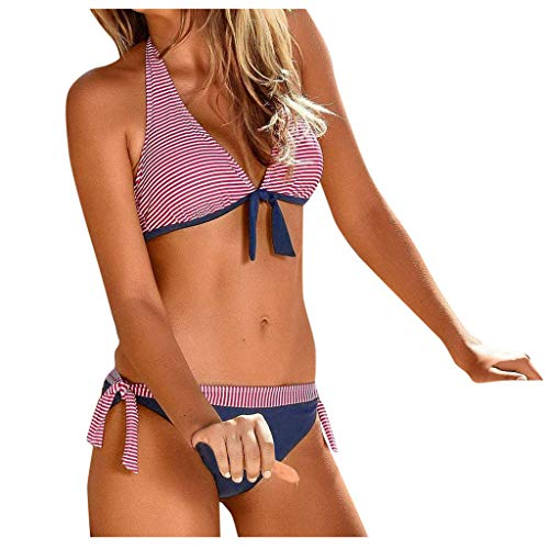 Fenverk Damen Zweiteilige Bikini Set Crossover Badeanzug Strandkleidung Neckholder Triangel Oberteil Bandeau Strandmode Sport Split Blumen Bikinihose(A#Rosa,XL)