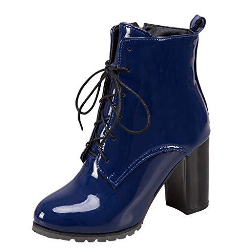 Stiefelparadies Damen Stiefel FGHYH Mode Frauen Hoher Absatz Schnürstiefel Britischen Stil Lackleder Stiefeletten(39, Dark Blau)