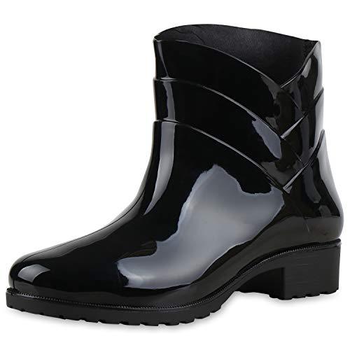 SCARPE VITA Damen Gummistiefel Profilsohle Stiefel Regen Schuhe 172761 Schwarz Schwarz 38