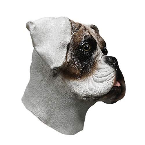 HENGYUTOY Maske Latex Boxer Hund Kopf Maske Tier Weihnachten Halloween Fancy Dress Party Dekoration Zubehör Kostüm