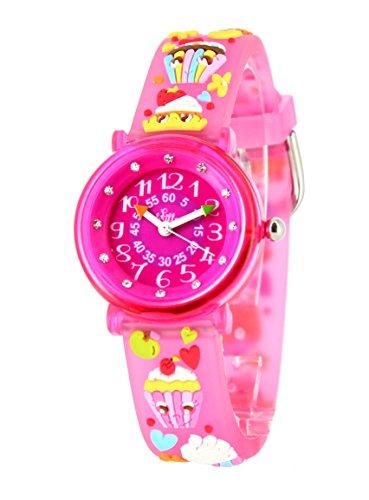 BABY WATCH Mädchen Analog Quarz Uhr mit Plastik Armband zap Cup-Cake