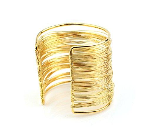 XL Fine Multi Gold Wire Bangle Bracelet Open Ended Cuff UK
