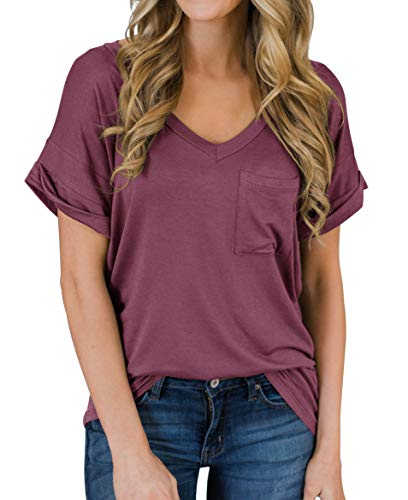 PrinStory Women's Summer Short Sleeve Shirts Loose Casual Tee T-Shirt Red Gray US S