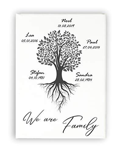 Personalisiertes Wandbild/Geschenk hochzeit/Bild Home/Geburtstag/Stammbaum/Familytree/Geschenk Umzug/Einweihungsgeschenk/Hochzeitsgeschenk/Jahrestag/Leinwand, 20x30cm