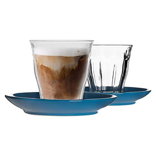 Duralex 12 Piezas de Cristal de Picardie Taza y platillo de cerámica Set - Taza del Vaso de Estilo Moderno para Latte Cappuccino - Azul - 220ml