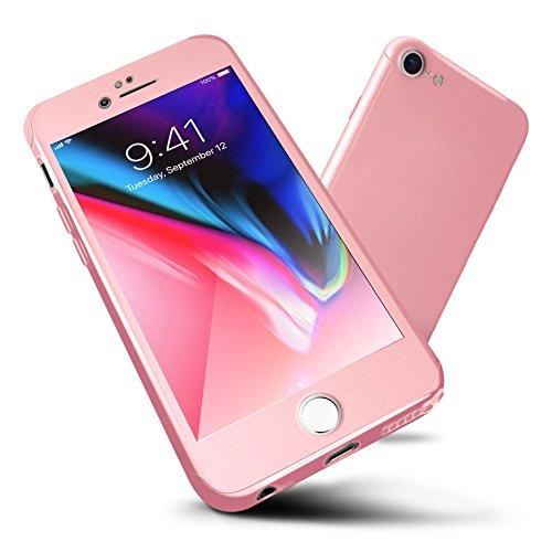 ORETECH Funda iPhone 6s/6, Carcasa iPhone 6/6s Case Cover 360 Grados con [2-Pack Transparent Protector de Pantalla de Vidrio Templado][Ultra-Delgado] [Ligera] iPhone 6/6s -4.7 Pulgada - Oro Rosa