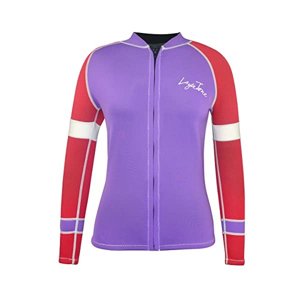 LayaTone Women Wetsuit Top 3mm Neoprene Jacket Rash Guard Long Sleeves Swimsuit Top Women Lady Front Zipper Surfing Canoeing Suit Jacket women