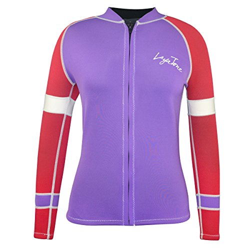 LayaTone Wetsuit Top Women 3mm Neoprene Jacket Surf Scuba Diving Suit Jacket Top Front Zipper Lady Swimming Canoeing Suit Jacket Wet Suits Top