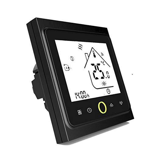 Termostato Inteligente para caldera de gas/agua,Termostato Calefaccion Wifi Pantalla LCD (pantalla TN) Botón táctil retroiluminado programable con Alexa etc and Phone APP-Negro