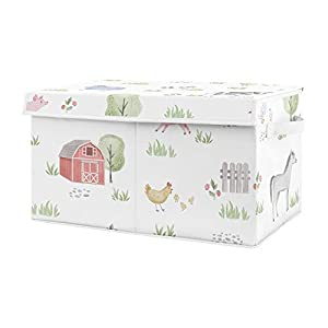 Sweet Jojo Designs Farm Animals Boy or Girl Small Fabric Toy Bin Storage Box Chest for Baby Nursery or Kids Room – Watercolor Farmhouse Horse Cow Sheep Pig