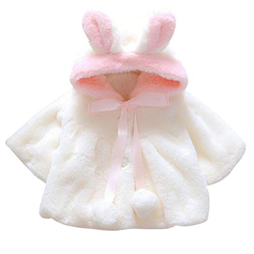 Abrigos Bebé, Niña Infant Ropa Otoño Invierno Chaqueta con Oreja de Conejo Capucha Grueso Capa para Bebés Niña 0-36 Mes (0-6 Meses, Blanco)