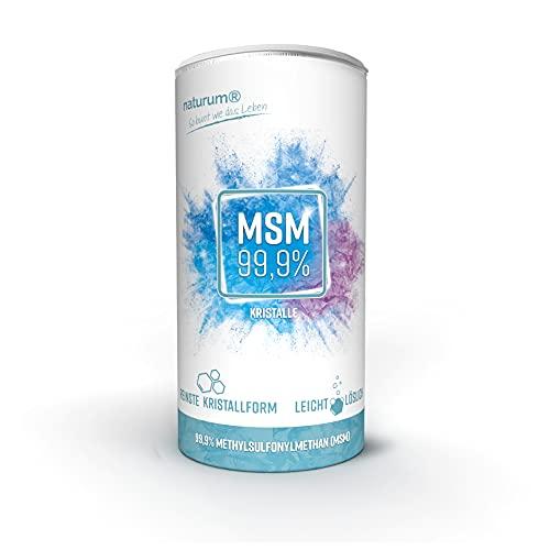 MSM Pulver reine Kristalle 99,9{aa0ec4e5ed0d50361d60a1b206c9af4c12e62ccbfa045ec7172b83e6f6312716} - organischer Schwefel (Methylsulfonylmethan) leicht löslich naturum 500g