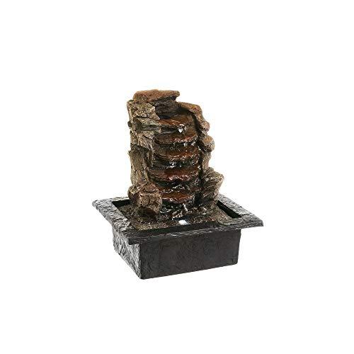 Fuente de Agua para Interior y Exterior marrón con luz led de Resina exótica de 21x18x26 cm - Estilo D