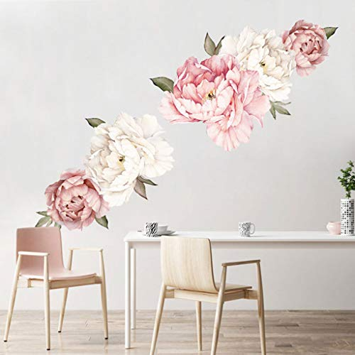 Jkhhi Wandaufkleber Wanddekoration Wandtattoo Wandbilder Leinwanddrucke Aufkleber Hintergrundbild Pfingstrose Blume Muster Wohnzimmer Wohnung Deko Pink
