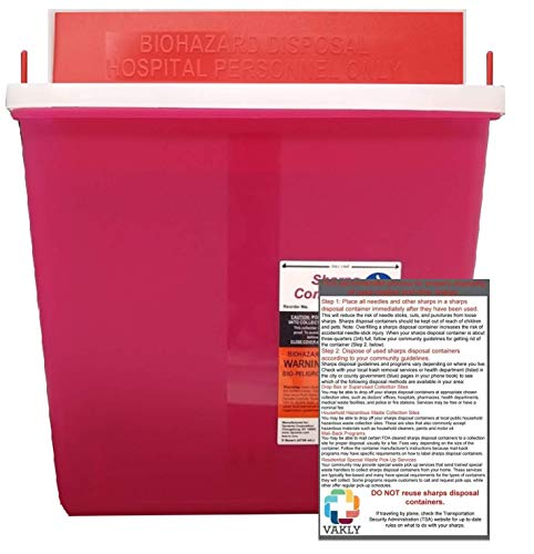 Sharps Container 5 Quart with Mailbox Style Lid - Plus Vakly Biohazard Disposal Guide (1 Pack)