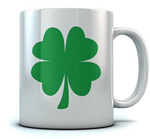 St. Patrick's Day Green Clover Coffee Mug Lucky Shamrock Sturdy Ceramic Mug 15 Oz. White
