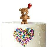 Ercadio 1 Pack Balloon Bear Cake Topper Resin Little Figurine Doll 3D Lucky Bear Cake Decoration for Jungle Safari Animal Theme Baby Shower Kids Boys Girls Birthday Party Supplies