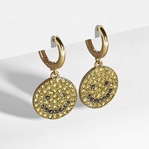 FEISHUO Aretes Pendientes redondos de cobre chapados en oro con pendientes de cara sonriente de diamantes