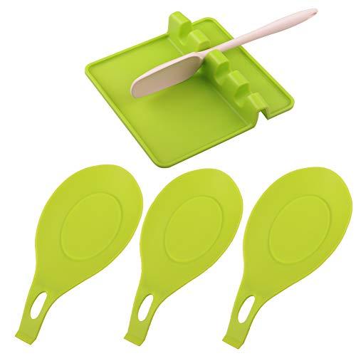 Portautensili in Silicone con gocciolatoio per più Utensili: 4 Pezzi poggia-Cucchiaio Extra Spesso per Piano Cottura, portautensili da Cucina per Piano Cottura, bancone (Green)