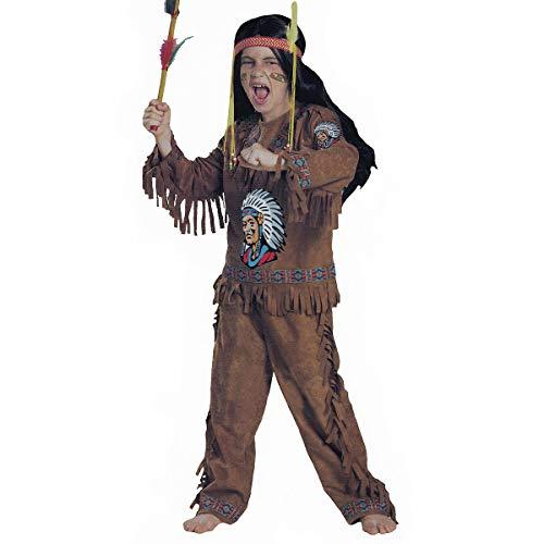Savahe Kinder Indianer Kostüm Jungen Karneval Fasching Party Häuptling Verkleidung (134/140)