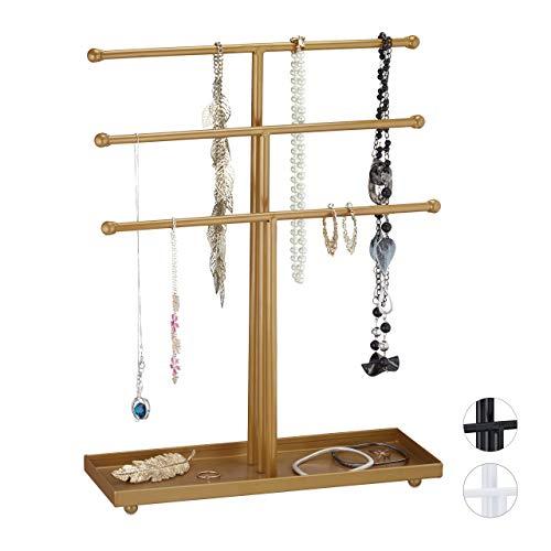 Relaxdays Schmuckständer, 3 Stangen, t-förmig, für Ketten, Ohrringe & Armbänder, mit Ablage, Schmuckhalter Metall, Gold