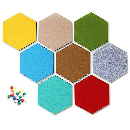 Yoillione Hexagon Felt Board Tiles Felt Memo Board, Bulletin Board Self Adhesive Notice Board Pins for Photos Memos Display, Note Board for Wall Decor with Push Pins