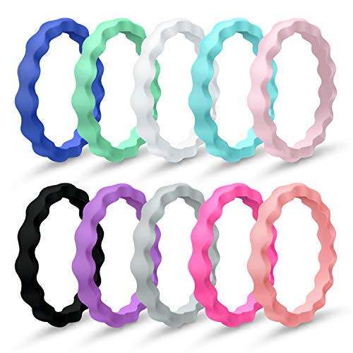 Mokani 10 Packs Silicone Wedding Ring for Women, Thin and Stackable Rubber Band, Affordable, Fashion, Colorful, Comfortable fit, Skin Safe