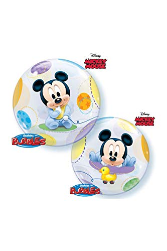 Qualatex 16432 Mickey & Friends Single Bubble Disney Baby Mickey Mouse Latex-Ballon, 56 cm