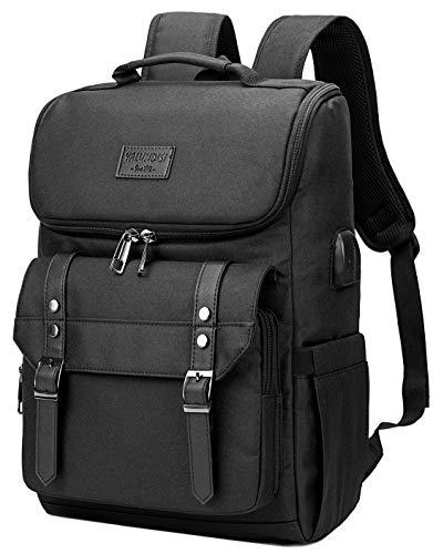 Vintage Backpack Travel Laptop Backpack with usb Charging Port for Women & Men School College Students Backpack Fits 15.6 Inch Laptop Black