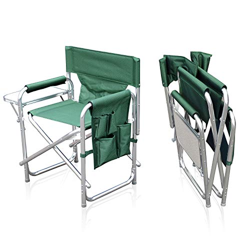 Sun Leisure Folding Alloy Sports Directors Chair, Strong Sturdy Solid Alloy Frame, With Folding Side Table And Side Pockets, Fishing Garden Camping Chair (Green chair without carry bag)