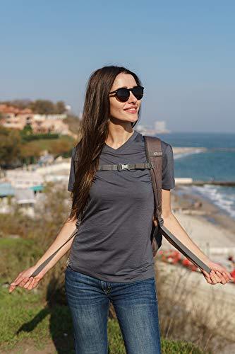 Merino.tech Merino Wool T Shirt Women - 100% Merino Wool Base Layer Women Short Sleeve Tee + Wool Hiking Socks (Medium, Deep Blue Crewneck)