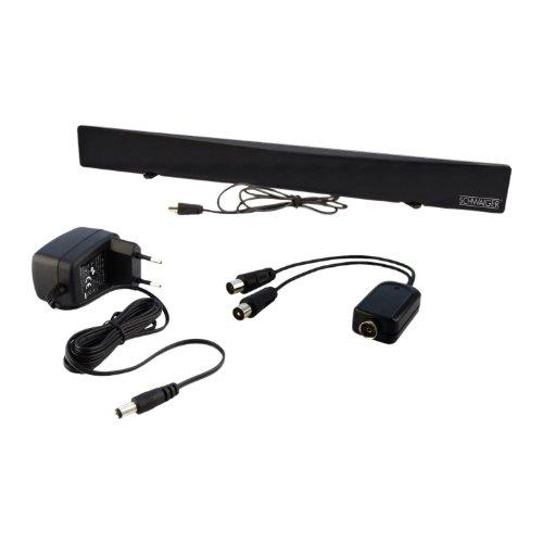 SCHWAIGER -DTA1000 011- DVB-T2 HD Zimmerantenne (aktiv)/ mit Signaltrenner/für UHF/VHF Empfang/Flachpanelantenne/terrestrischer und digitaler Fernseh- und Radioempfang/schwarz