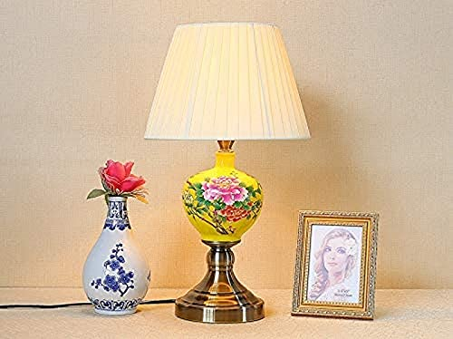 ZJJZ Aplique Pintado a Mano Todas Las Flores florecen Juntas Lámpara de Mesa Figuras de Porcelana Tradicionales Acabado Lámpara de Escritorio Pies Altos Soporte de Cobre Cepillado LED E27 Compati