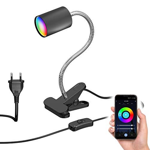 ledscom.de Luz de pinza WAIKA con SchWANEnhals e interruptor negro mate, incl. lámpara LED RGBW GU10 de Smart Home, 5.2W=45W, 550lm