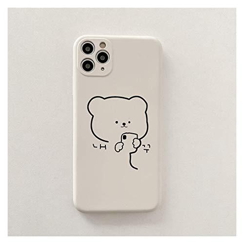 DSMYYXGS Caja Blanca del Teléfono De La Historieta Linda del Oso Simple Coreano para For iPhone 12 11 Pro Mane MAX Funda De Silicona para iPhone XS XR X 7 8 Plus Casos