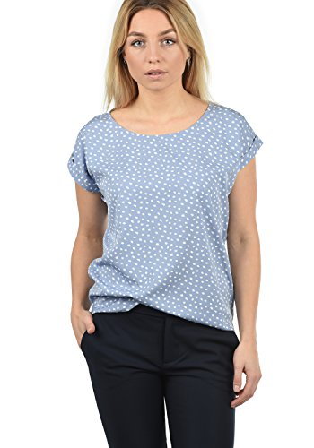 BlendShe Amarena Damen Lange Bluse Kurzarm Mit U-Boot Ausschnitt Und Verschiedene Prints Loose Fit, Größe:M, Farbe:English Manor dot (20233)