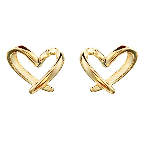 Minimalist Gold Heart Sterling Silver Earrings for Women Girls Charm Hollow Love Hearted Stud Tiny Small Cartilage Tragus Post Pin Hypoallergenic Pierced Ear Jewelry Birthday Valentine