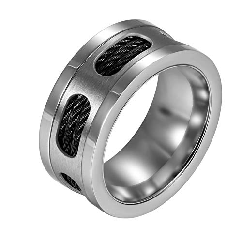 CTDMMJ Silver Stainless Steel Rings Men Ring with Cable Wire Cocktail Wedding Jewelry