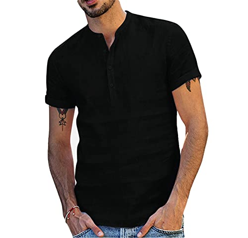 Manga Corta Hombre Moderna Sencillez Moda Color Sólido Ajuste Regular Hombre Shirt Verano Botón Placket Collar Pie Casuales Camisa Casual Transpirable Hombre T-Shirt D-Black S