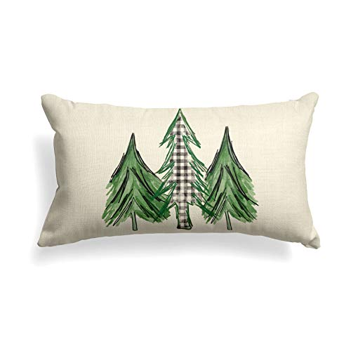 AVOIN Watercolor Christmas Tree Throw Pillow Cover, 12 x 20 Inch Holiday Buffalo Plaid Cushion Case Decoration for Sofa Couch