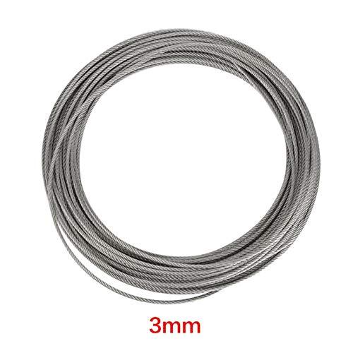 Alambre de acero - 1 pieza 20 m 304 Cable de acero inoxidable Cable de acero duro para elevación de pesca 2/2.5/3mm(3mm)