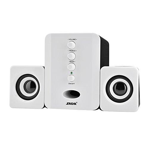 Universeller tragbarer Mini Wired Lautsprecher für SADA, USB 2.1 Kombinationslautsprecher Bass Musik Player Subwoofer für Telefon Laptop PC Stereo Computer TV Echo Dot(Weiß schwarz)