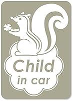 imoninn CHILD in car ステッカー 【マグネットタイプ】 No.36 リスさん (グレー色)