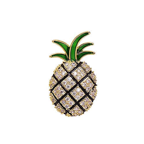 kerryshop Brooches Creative Fruit Pineapple Brooch,Collar Pin Women Neckline Shirt Pin Clothes Ornament Durable and Useful(Single,Golden Green) Pins for Fashion