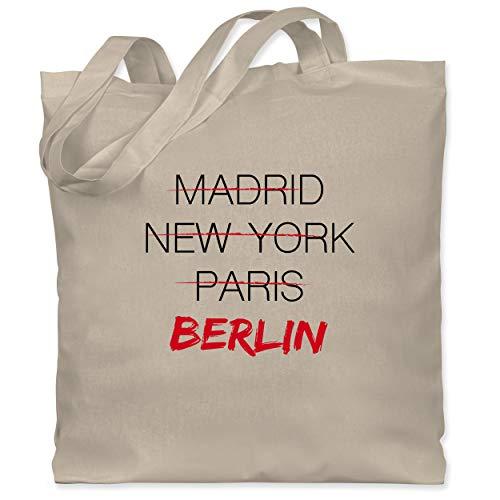 Shirtracer Städte - Weltstadt Berlin - Unisize - Naturweiß - jutebeutel berlin - WM101 - Stoffbeutel aus Baumwolle Jutebeutel lange Henkel