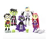 Kourtrico Teen Titans Go Toys, Teen Titans Go Action Figures Set , 6-Pack Robin, Starfire, Cyborg, Raven, Beast Boy, Toys for 3-12 Year Old Boys Girls Kids Children